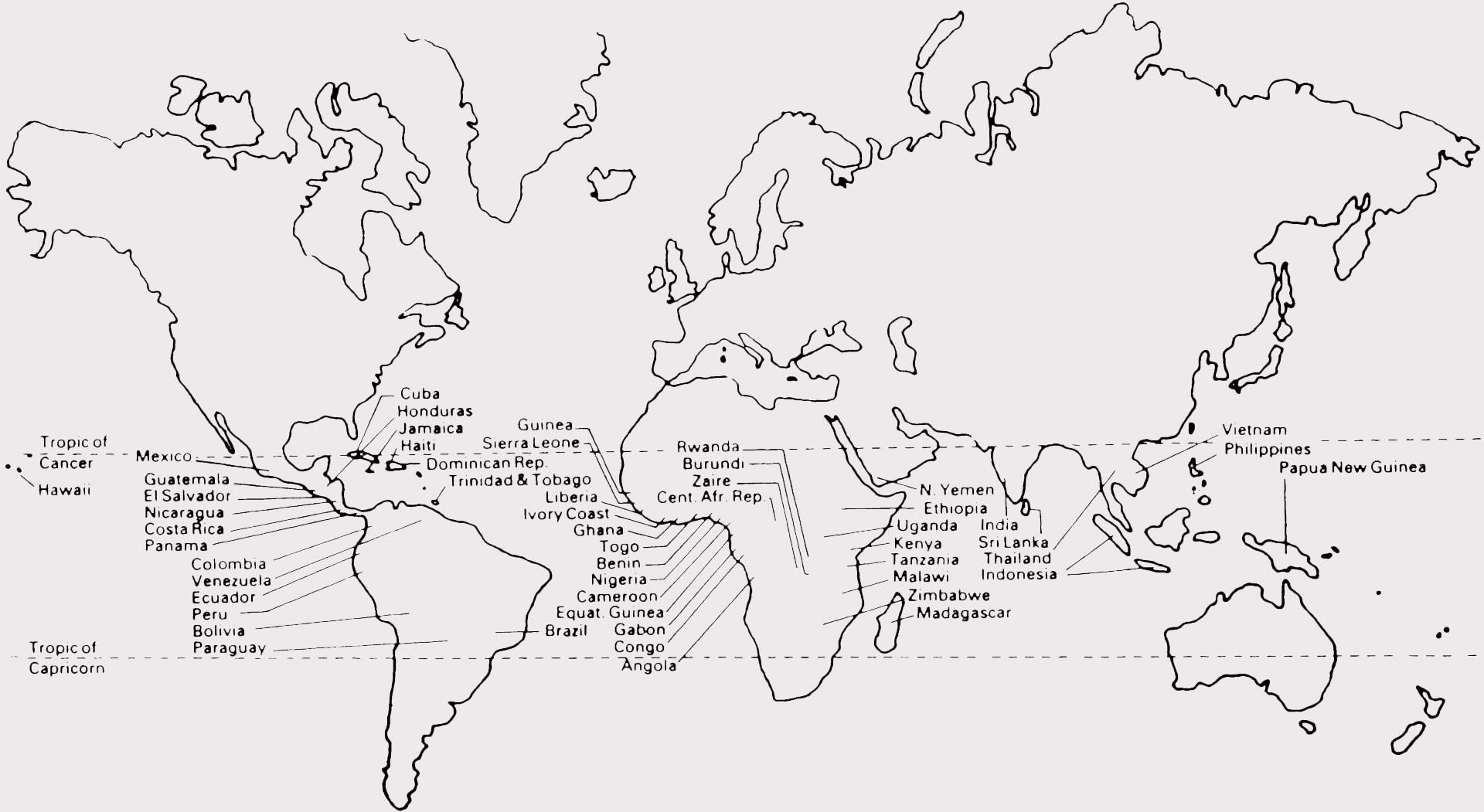 Основные страны кофе